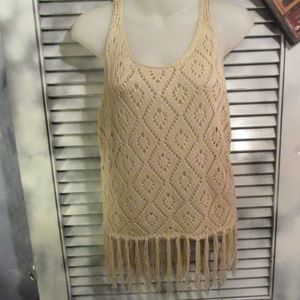 Forever 21 Sm fringe boho crochet tank sweater